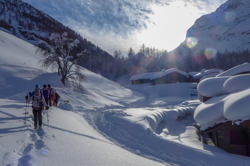 Snowshoe walk in the village - Guide Trek Alps - Viaggi Natura in mondo