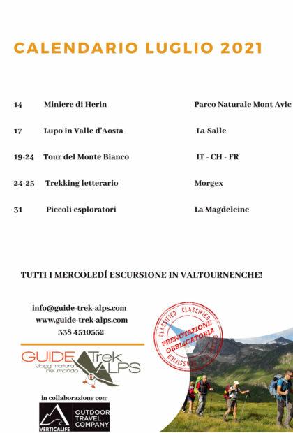 Calendario luglio 2021 - Guide Trek Alps - Viaggi Natura in Mondo