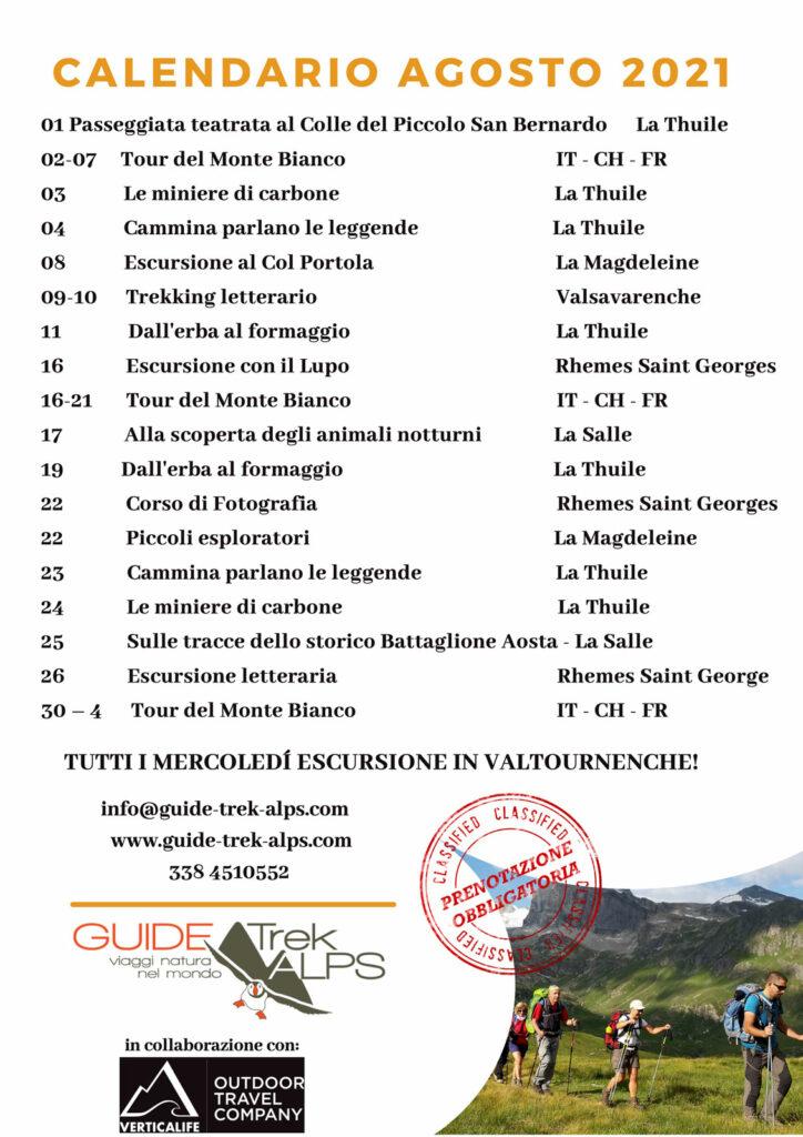 Calendario agosto 2021 - Guide Trek Alps - Viaggi Natura in Mondo