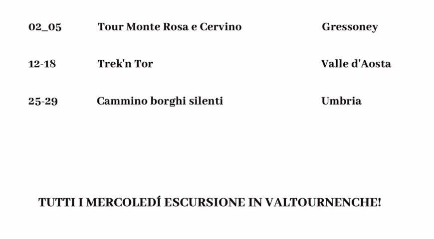 Calendario settembre 2021 - Guide Trek Alps - Viaggi Natura in Mondo