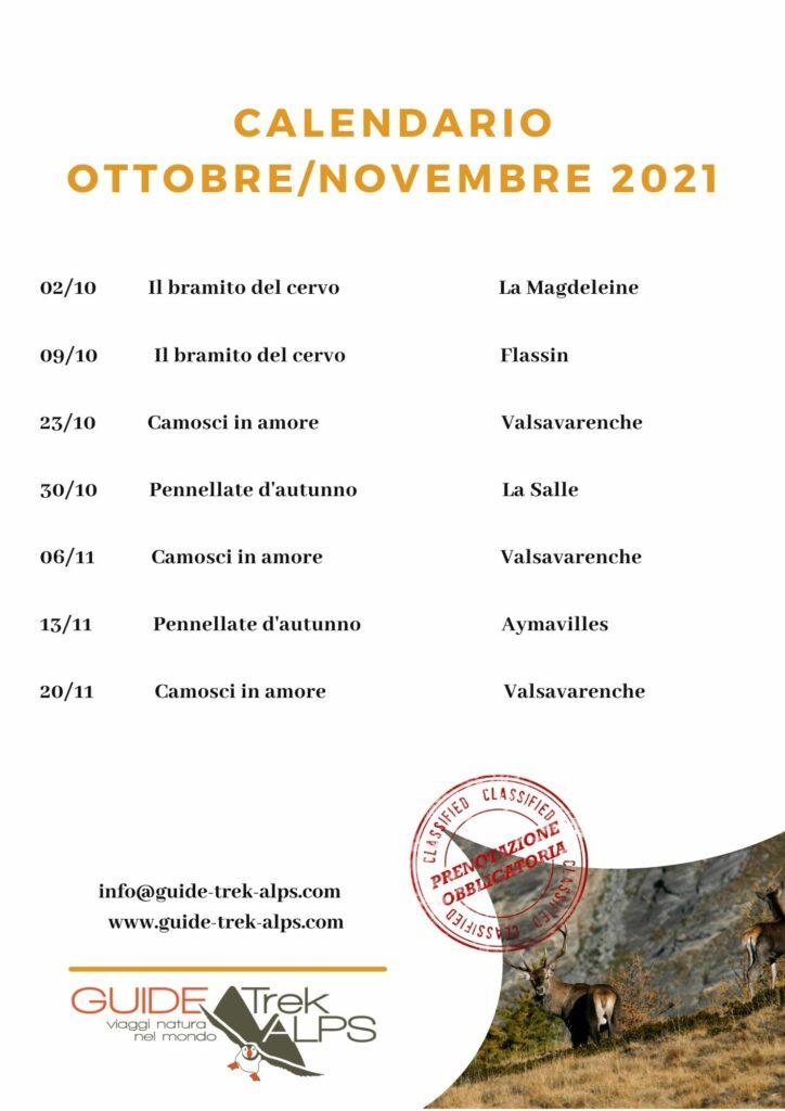 Calendario Autunno - Guide Trek Alps - Viaggi Natura in Mondo